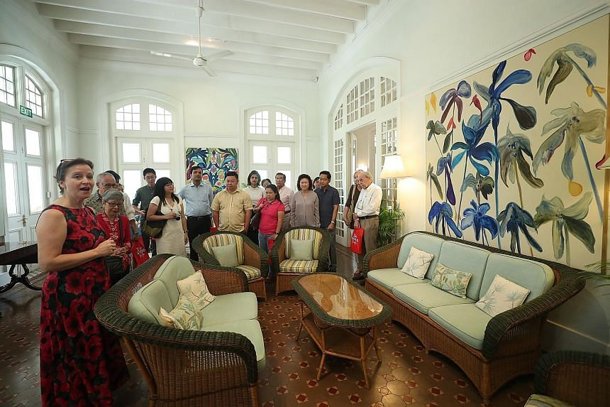 Scones, sandwiches and tea were on the menu yesterday morning as 20 subscribers of The Straits Times and their guests visited Eden Hall, the official residence of British High Commissioner to Singapore Scott Wightman and his wife Anne. Mrs Wightman (
