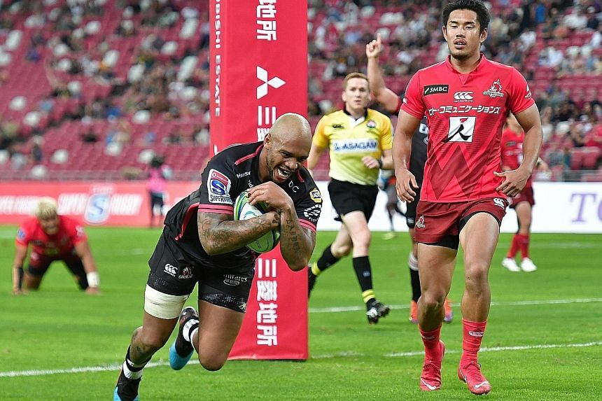 The Lions' inside centre Lionel Mapoe scoring a try against the Sunwolves in their Super Rugby match at the National Stadium last night. The stronger, fitter South Africans overpowered their opponents with a dominant second half.