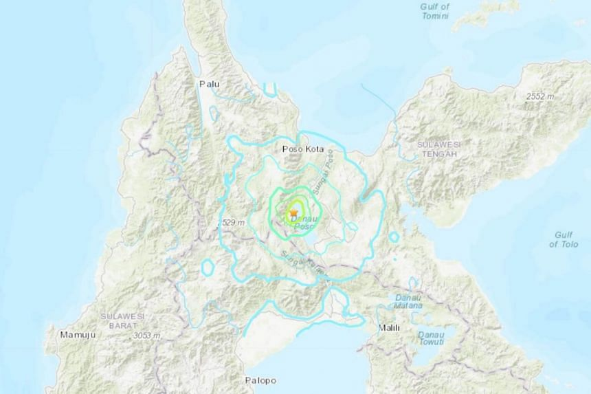 The quake struck 129km south-east of the city of Palu at a depth of 10km.