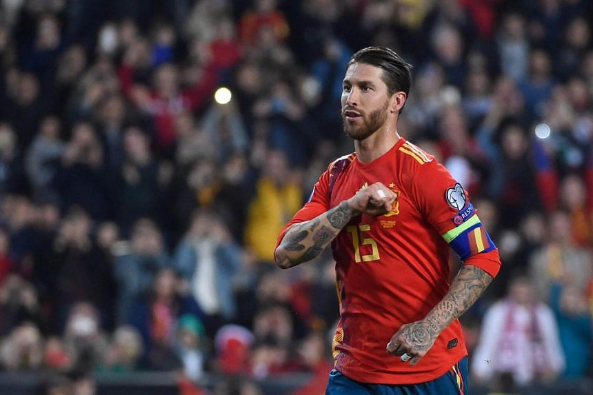 Spain's defender Sergio Ramos celebrates after scoring a goal at the Mestalla Stadium in Valencia on March 23, 2019.