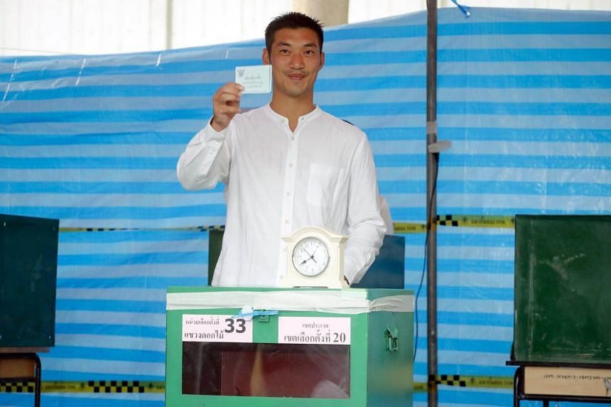 Thai Future Forward Party co-founder and leader Thanathorn Juangroongruangkit casts his ballot at a polling station in Bangkok, on March 24, 2019.