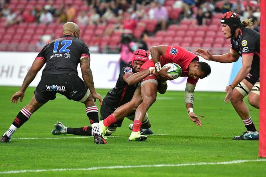 Sunwolves' left wing Semisi Masirewa attempts to score against the Lions during the Super rugby match on March 23, 2019, at the National Stadium.