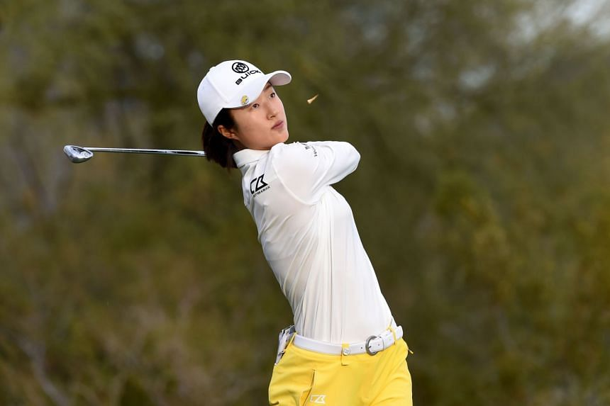 Liu Yu teeing off from the 17th hole during the Bank Of Hope Founders Cup in Phoenix, Arizona, on March 23, 2019.