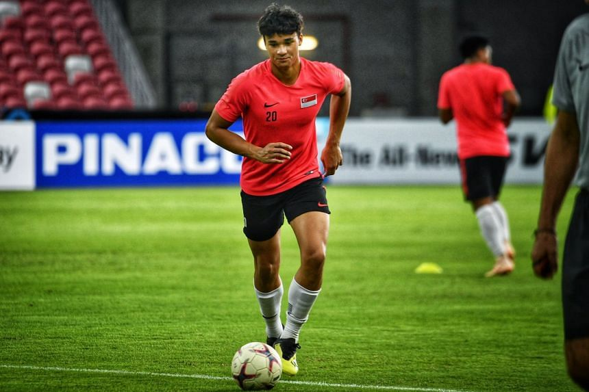 Ikhsan Fandi at national team training last November during the AFF Suzuki Cup. He put the Singapore Under-22s up in the first minute but North Korea fought back to equalise for a 1-1 draw in the AFC Under-23 Championship qualifier.
