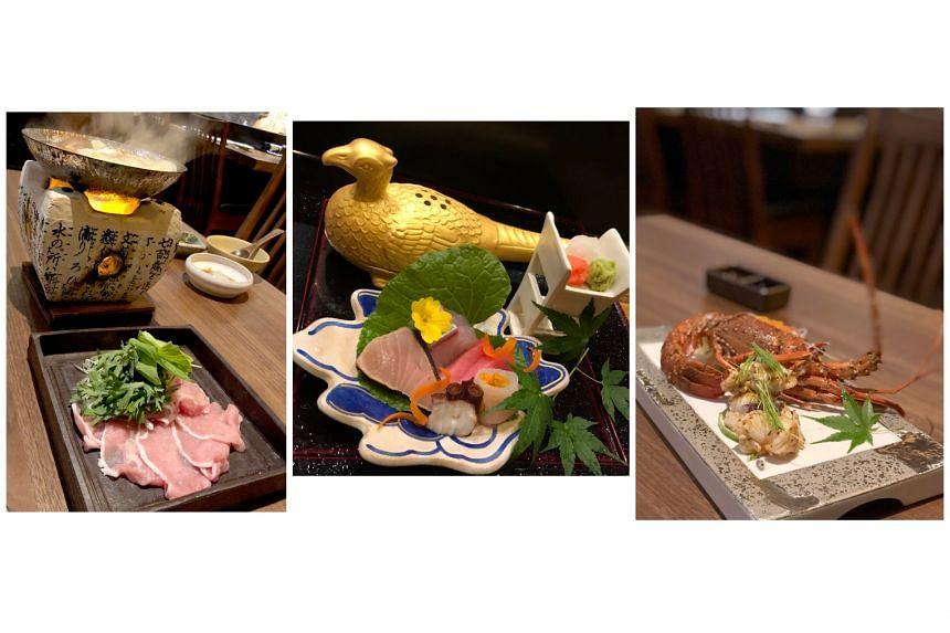 (From left) The pork shabu-shabu oroshi hotpot, sashimi and lobster are worth trying at Teppan Kappou Kenji.