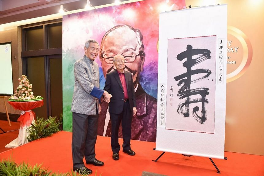 Prime Minister Lee Hsien Loong and Mr Ong Pang Boon at the latter's 90th birthday celebrations on March 23.