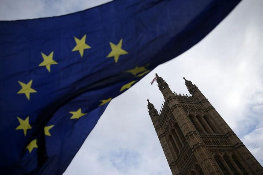 An anti-Brexit demonstrator waves an EU flag outside the Houses of Parliament in London on Feb 28, 2019.