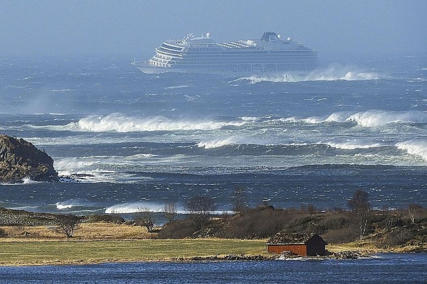 The cruise ship Viking Sky drifting towards the shore in Hustadvika, Norway. It had sent out a mayday signal on Saturday.