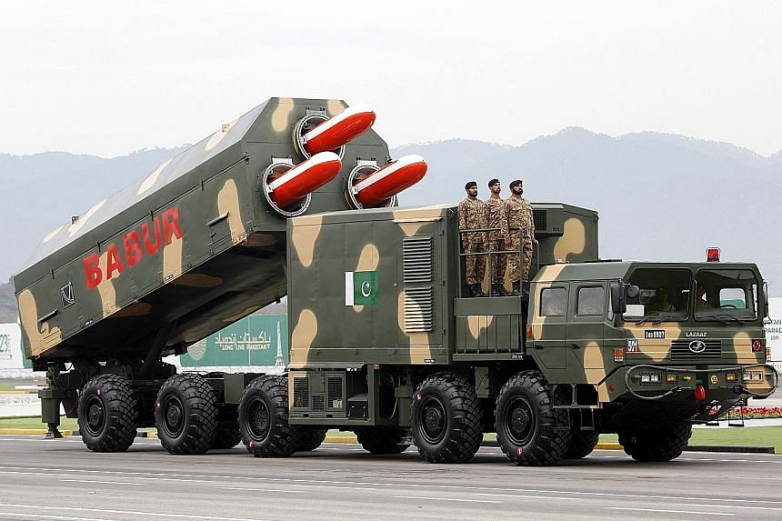 The Babur missile at the military parade in Islamabad on Saturday for Pakistan's national day. March 23 marks the adoption of the Lahore Resolution demanding a separate state for the Muslims of British-ruled India.