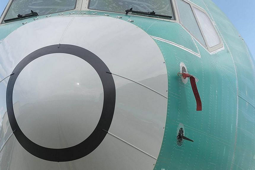 A B-737 Max 8 at Boeing's factory in Renton, Washington. The factory visits by teams from the three US airlines that own B-737 Max jets indicated Boeing may be near completing a software patch.