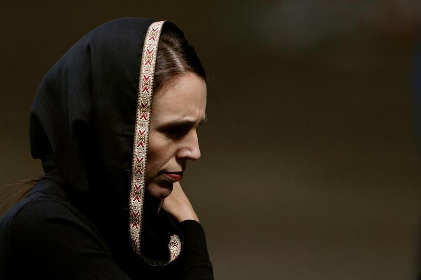 New Zealand's Prime Minister Jacinda Ardern leaves after the Friday prayers at Hagley Park outside Al-Noor mosque in Christchurch, New Zealand on March 22, 2019.