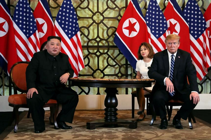 North Korean leader Kim Jong Un and US President Donald Trump during their one-on-one bilateral meeting in Hanoi, Vietnam on Feb 28, 2019.