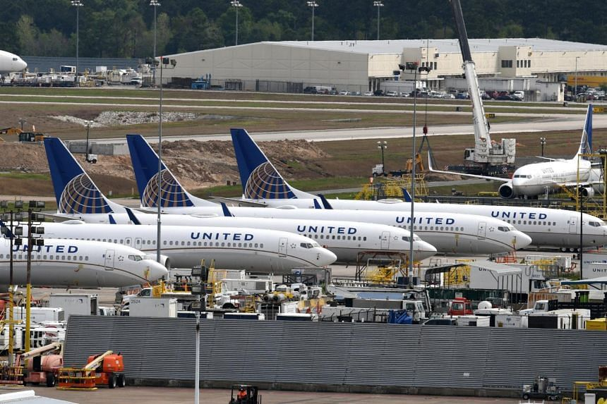 United Airlines planes pictured at George Bush Intercontinental Airport in Houston, Texas, US, on March 18, 2019.