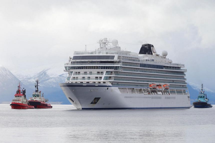 Viking Sky cruise ship arrives at Molde, Norway, on March 24, 2019.