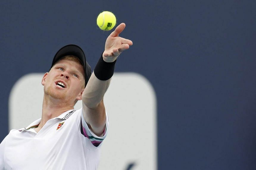 Kyle Edmund serves the ball in the third round of the Miami Open at Miami Open Tennis Complex in Miami Gardens, on Mar 24, 2019.