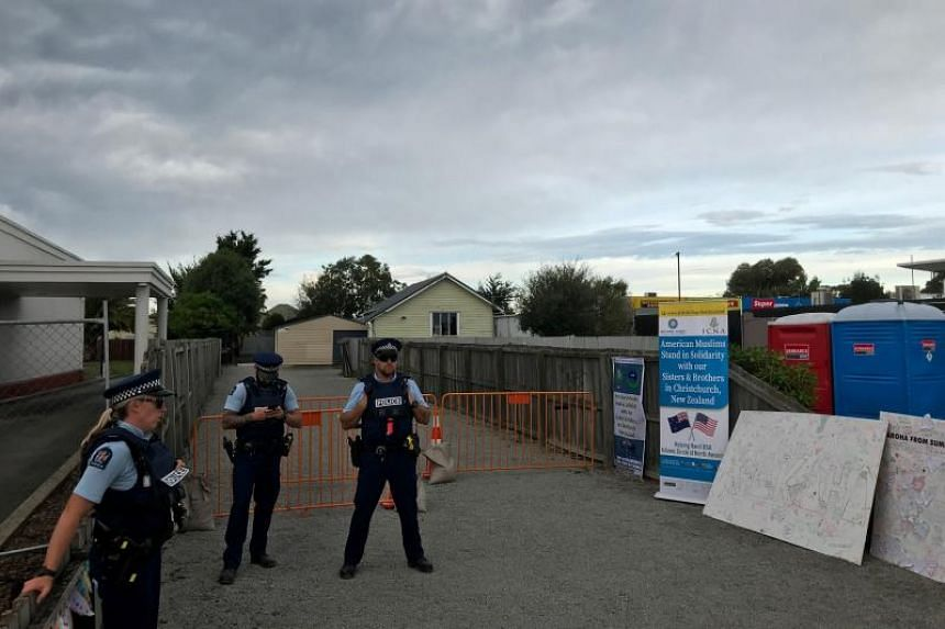 Police guard the Linwood mosque in Christchurch, on March 25, 2019.