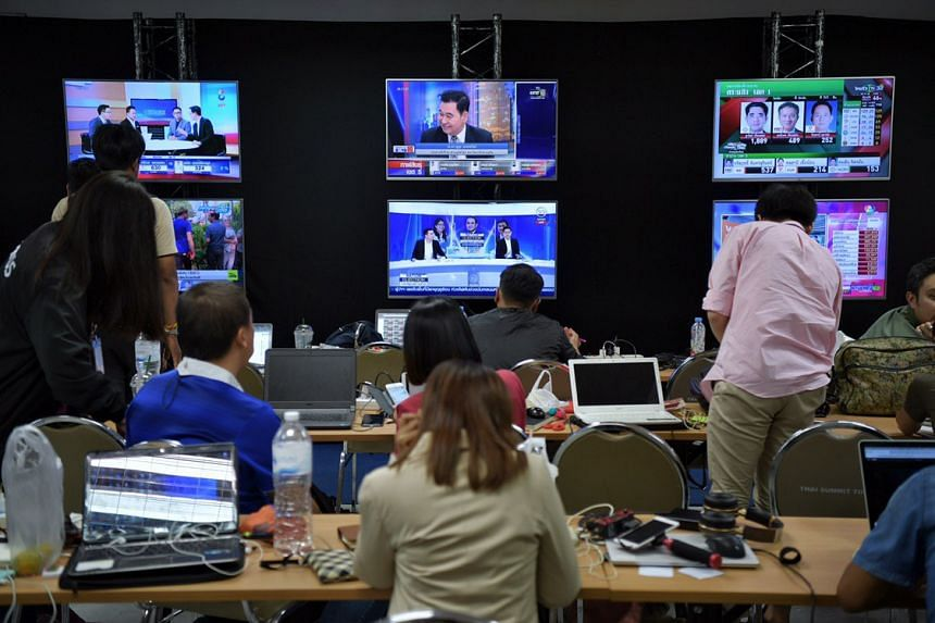 Members of the media at the press conference room at the Future Forward party's headquarters in Bangkok on March 24, 2019.