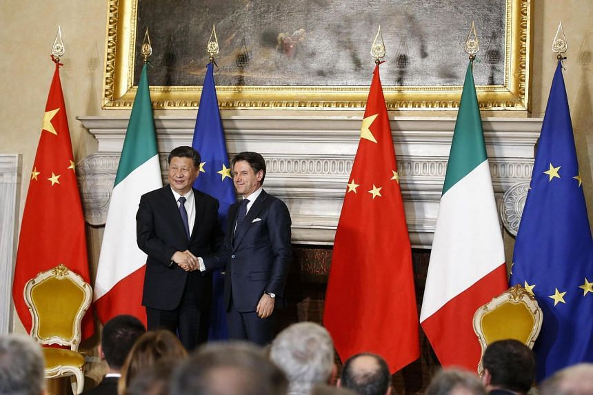 Italian premier Giuseppe Conte with Chinese President Xi Jinping during their meeting at the Villa Madama in Rome, Italy, on March 23, 2019.