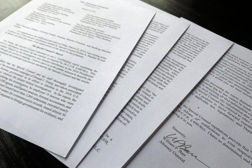 US Attorney General William Barr's four-page letter to US congressional leaders on the conclusions of Special Counsel Robert Mueller's report on Russian meddling in the 2016 election.