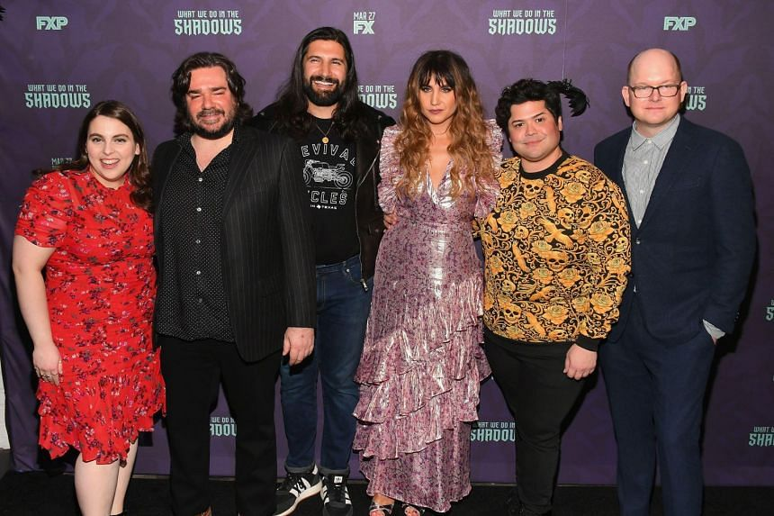(From left) Beanie Feldstein, Matt Berry, Kayvan Novak, Natasia Demetriou, Harvey Guillén and Mark Proksch at the What We Do In The Shadows premiere in New York City on March 19, 2019.
