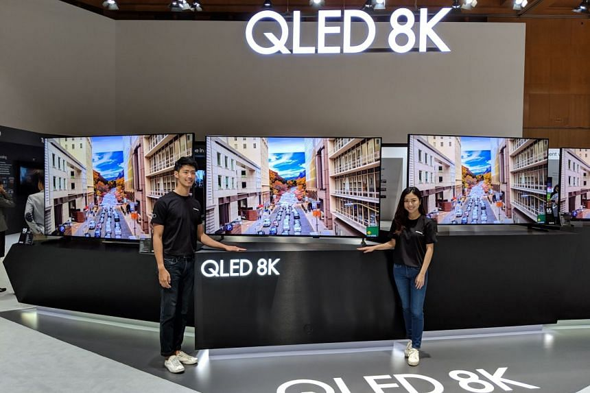 There's no 8K content yet, but Samsung's new 8K televisions can convert lower-resolution content to 8K resolution using an AI-powered chip. ST PHOTO: VINCENT CHANG