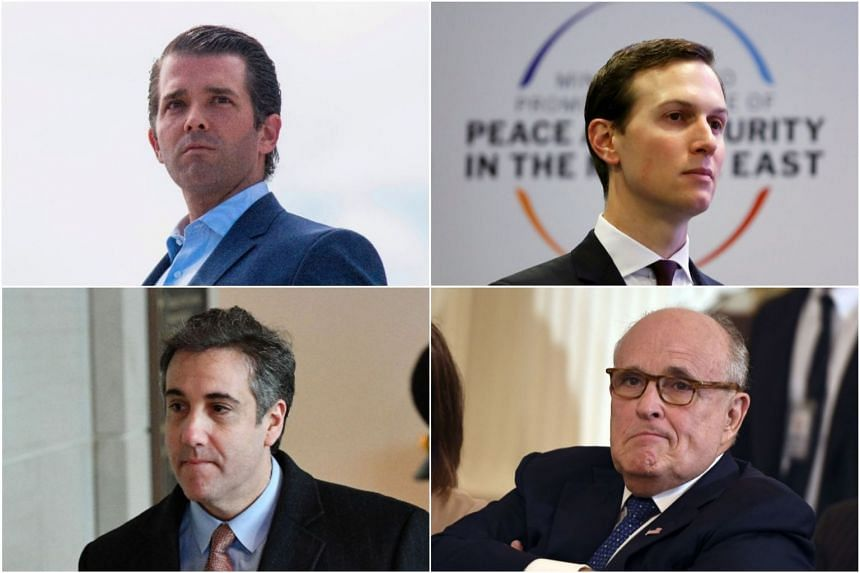 Key figures in the investigation include (clockwise from top left) Donald Trump Jr, Jared Kushner, Rudy Giuliani and Michael Cohen.