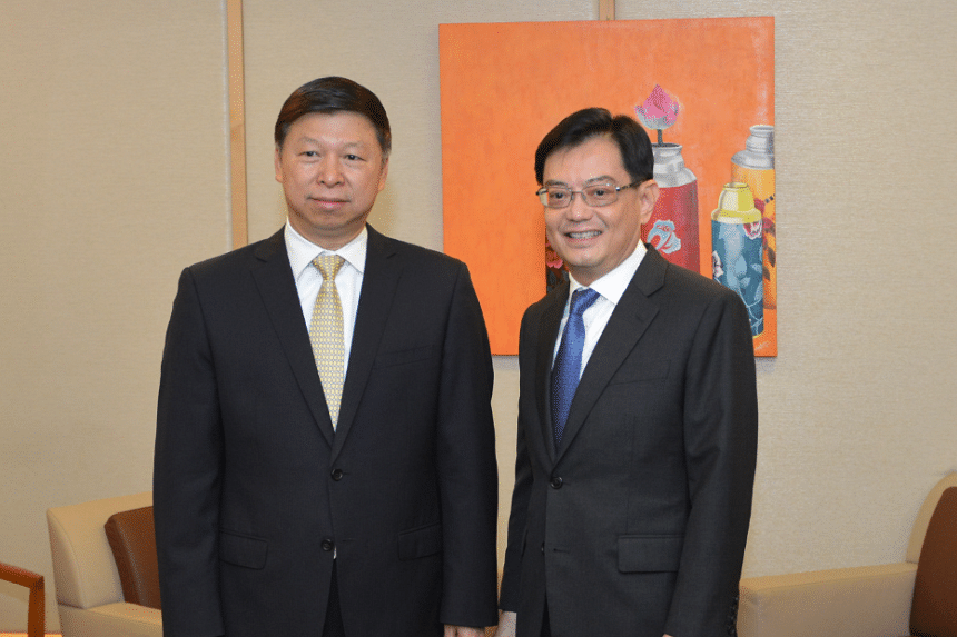 Chinese Communist Party's Minister of the International Department Song Tao called on Finance Minister Heng Swee Keat at the Ministry of Finance on March 25, 2019.