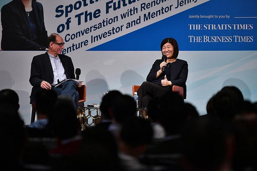 GGV Capital managing partner Jenny Lee sharing her experiences from the start-up world yesterday with moderator Vikram Khanna, ST associate editor, and the audience at a public interactive forum series called Cutting Edge, which showcases prominent t