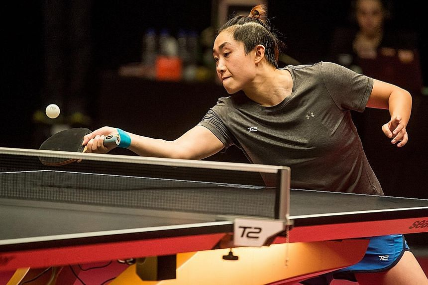 Feng Tianwei returning to Thai Suthasini Sawettabut in their T2Apac match in 2017 at the Pinewood Studios in Johor Baru. The Singaporean secured her play-off spot on her very last point of the regular season and lost in the final to Romanian Bernadet