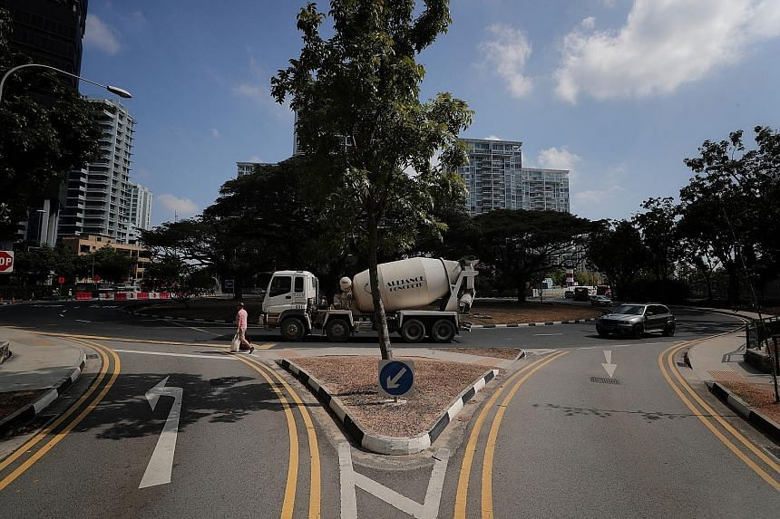 View of the roundabout from the Silversea condominium. Residents in the area have raised concerns about safety at the roundabout as they use the road when sending their children to school or heading to the nearby Parkway Parade mall. Last Monday, an