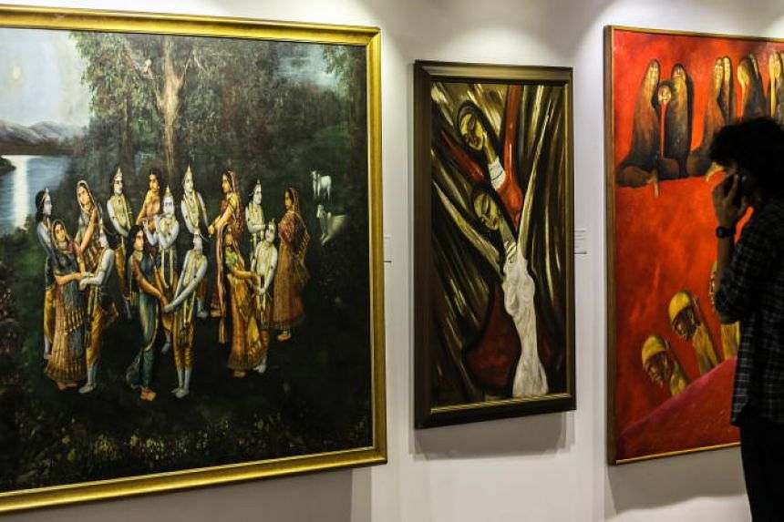A general view of the paintings kept for auctions in the art gallery in Mumbai, India, on March 25, 2019.