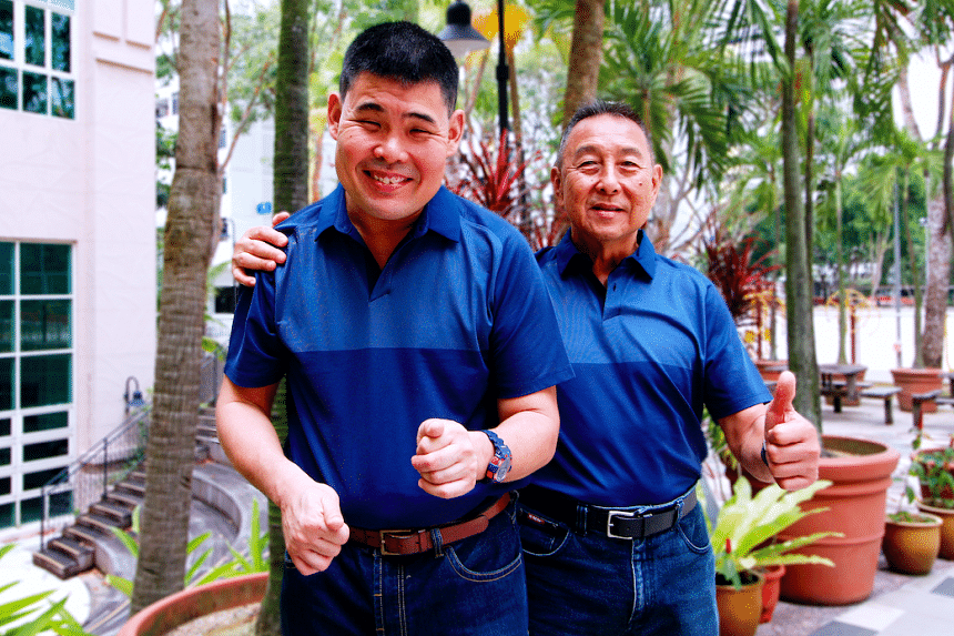Clement Puah Neo with his son Conrad