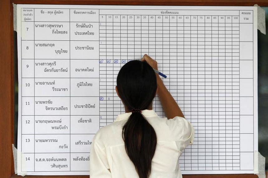 A Thai electoral official fills results during ballot counting after voting closed in the general election, at a polling station in a temple in Chiang Mai on March 24, 2019.