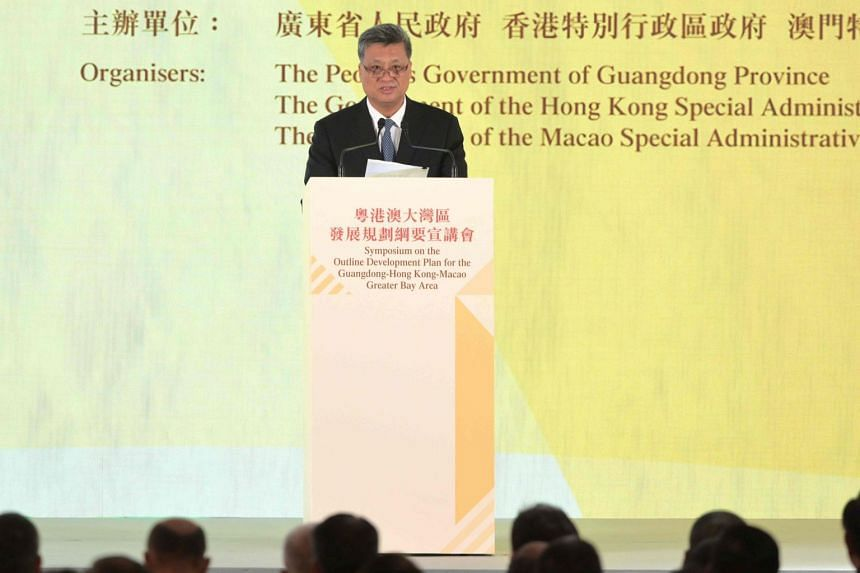 Governor of Guangdong Province Ma Xingrui speaks during a symposium on the Outline Development Plan for the Guangdong-Hong Kong-Macao Greater Bay in Hong Kong, on Feb 21, 2019.
