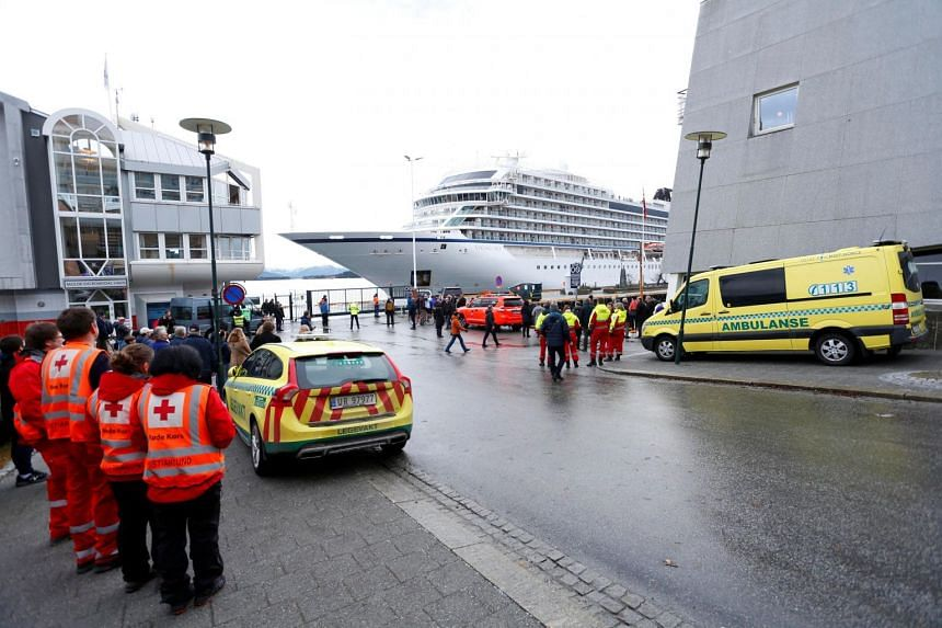 Viking Sky cruise ship arrives, after problems the ship got in the storm outside of Hustadvika, at Molde, Norway, on March 24, 2019.