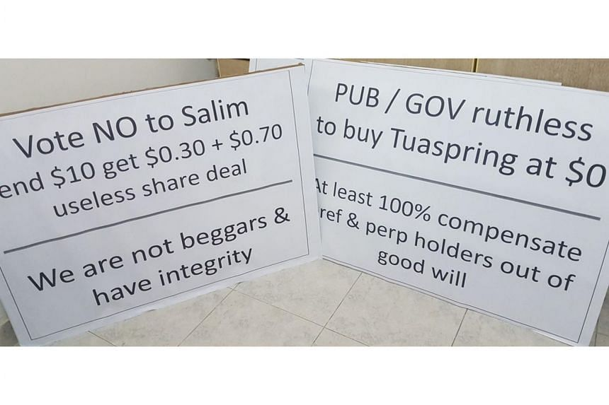 Signs protesters are planning to display at the Speakers' Corner on Saturday.
