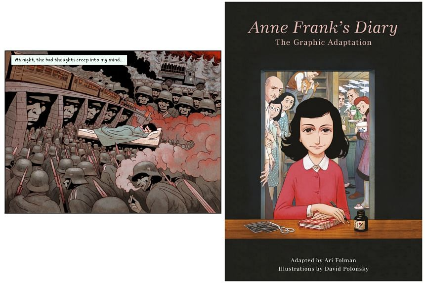 A dream sequence (left) from Anne Frank's Diary: The Graphic Adaptation (right) by Anne Frank, Ari Folman and David Polonsky.
