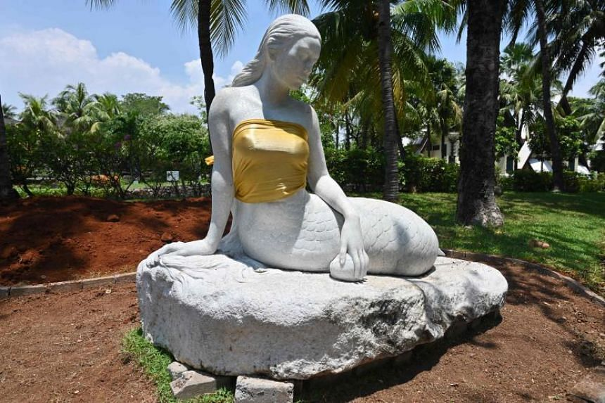 """While the nude statues have been on display for years at Jakarta's Ancol Dreamland, a recent policy aimed at respecting """"Eastern values"""" has seen the mermaids get an official cover-up."""