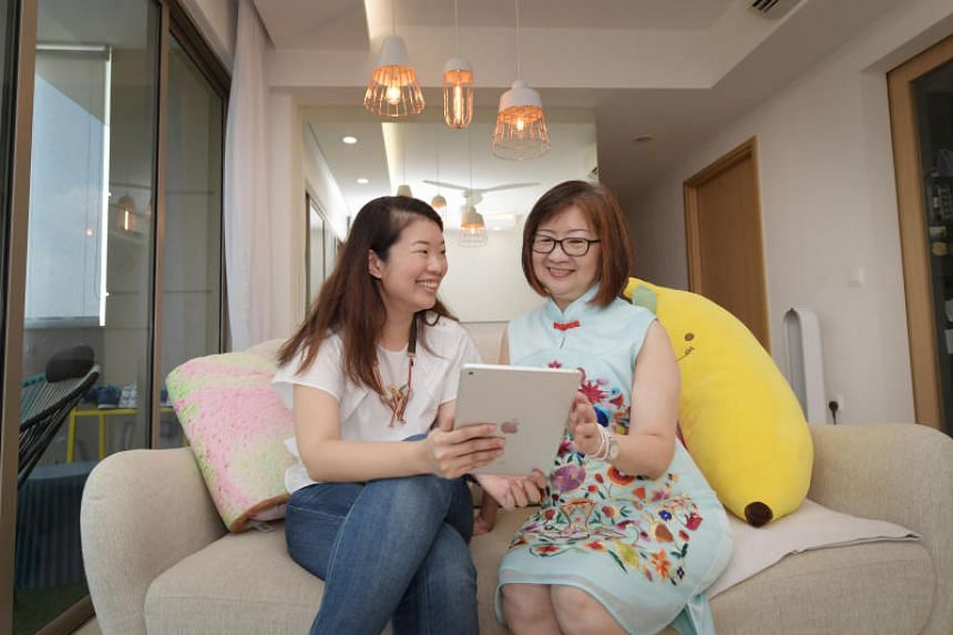 Annabel Lim, 31, and her mother Madam Christina Yeo, 65, at home.