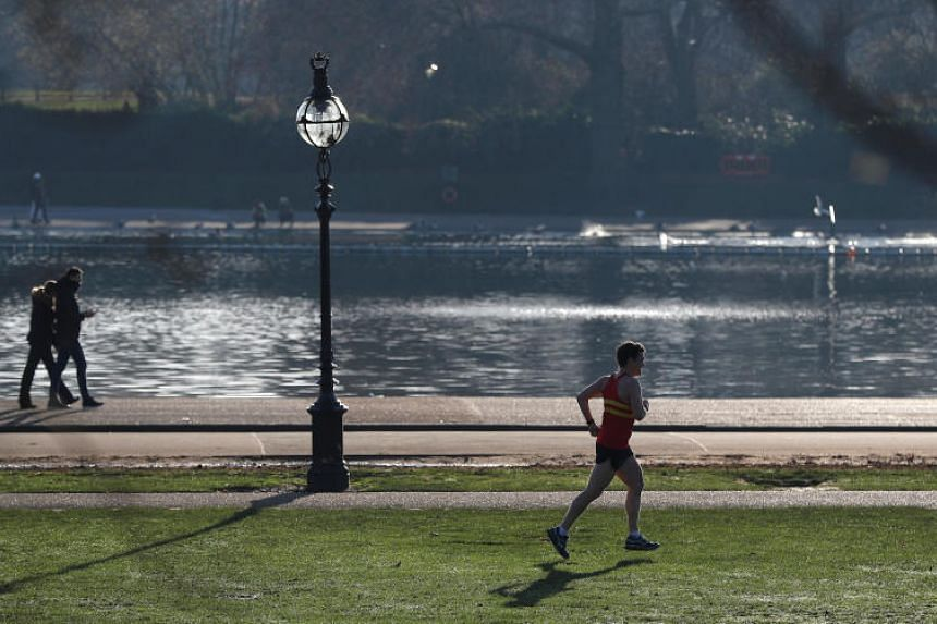 A runner passes the Serpentine lake in Hyde Park in London, Britain on Dec 28, 2018. The body of a 24-year-old Malaysian student was pulled from the lake at about 5.51am on March 25, 2019.