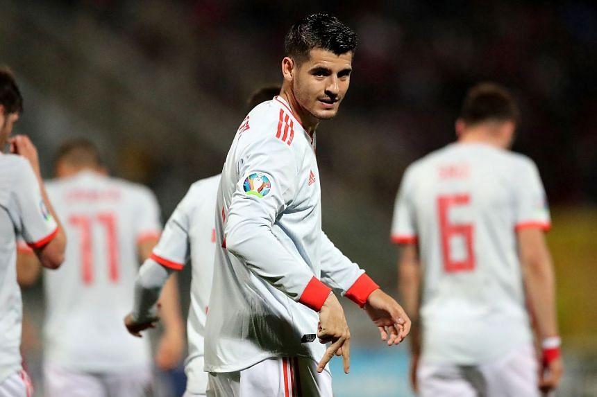 Morata celebrates after scoring against Malta.