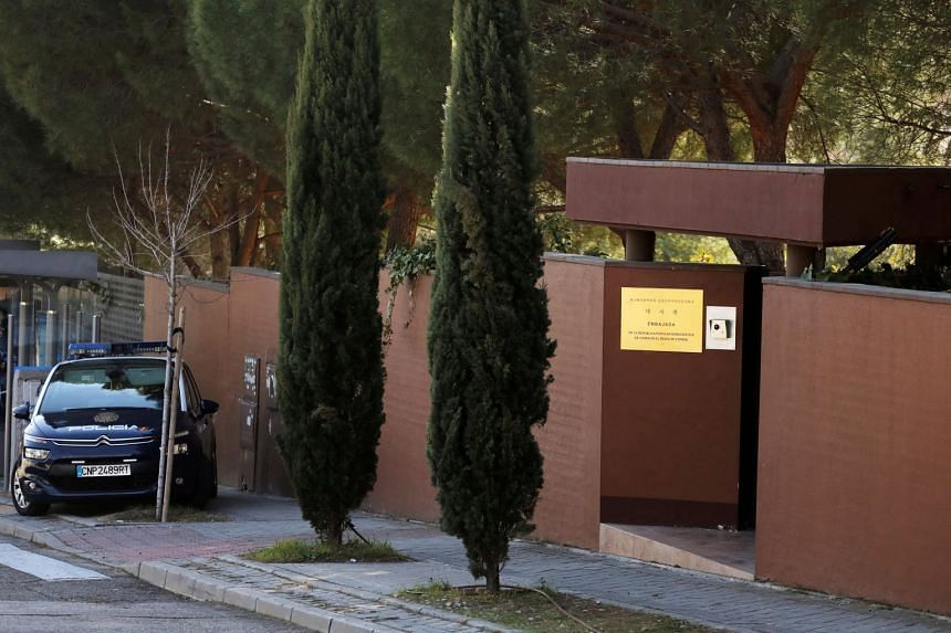 A Spanish National Police car is seen outside North Korea's embassy in Madrid, Feb 28, 2019.