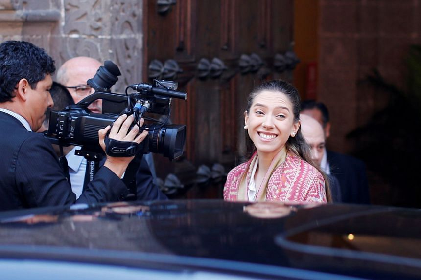 Fabiana Rosales smiles after a meeting at Peru's Foreign Ministry in Lima, Peru.