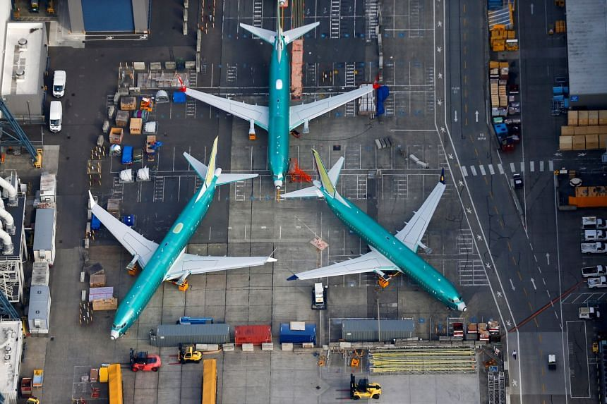 Boeing 737 Max planes parked on the tarmac at the Boeing Factory in Renton, Washington.