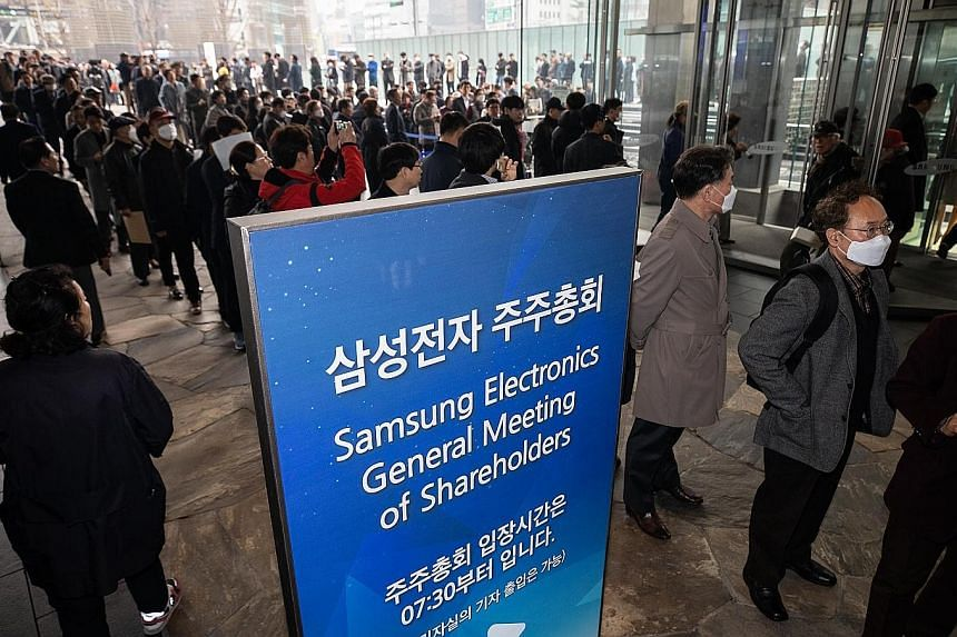 Samsung told shareholders at its annual general meeting in Seoul last Wednesday that sales of memory products would likely revive in the second half of the year after a tough first half. The firm was forecast to post a 7.2 trillion won (S$8.59 billio