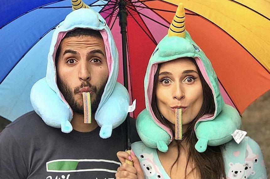 Nas Daily creator Nuseir Yassin and his girlfriend Alyne Tamir (both left).