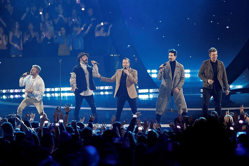 Backstreet Boys performing during the iHeartRadio Music Awards in Los Angeles this month.