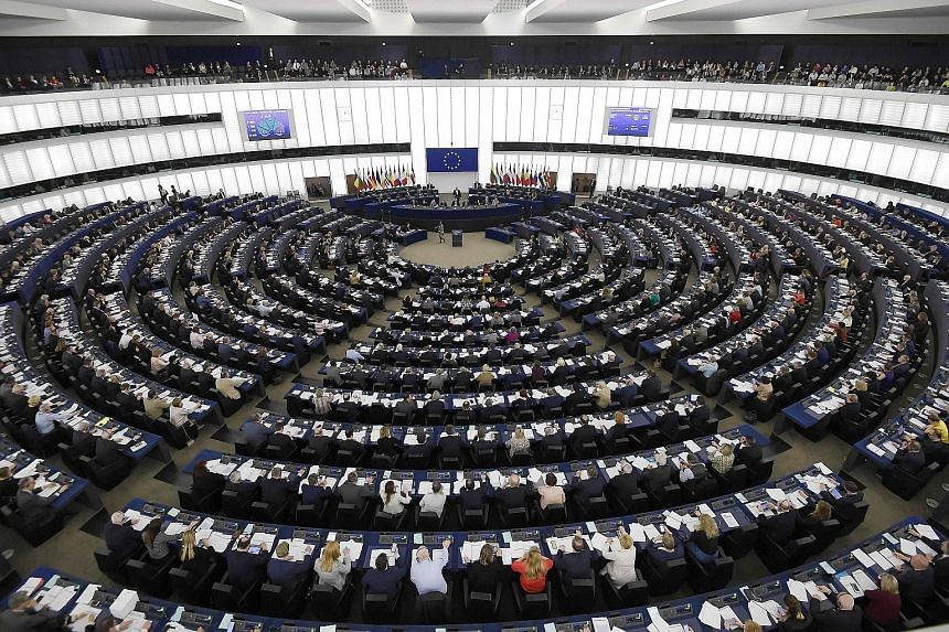 Members of the European Parliament at a voting session yesterday in Strasbourg in eastern France. They endorsed an overhaul of two-decade-old European Union copyright rules by 348 votes to 274.