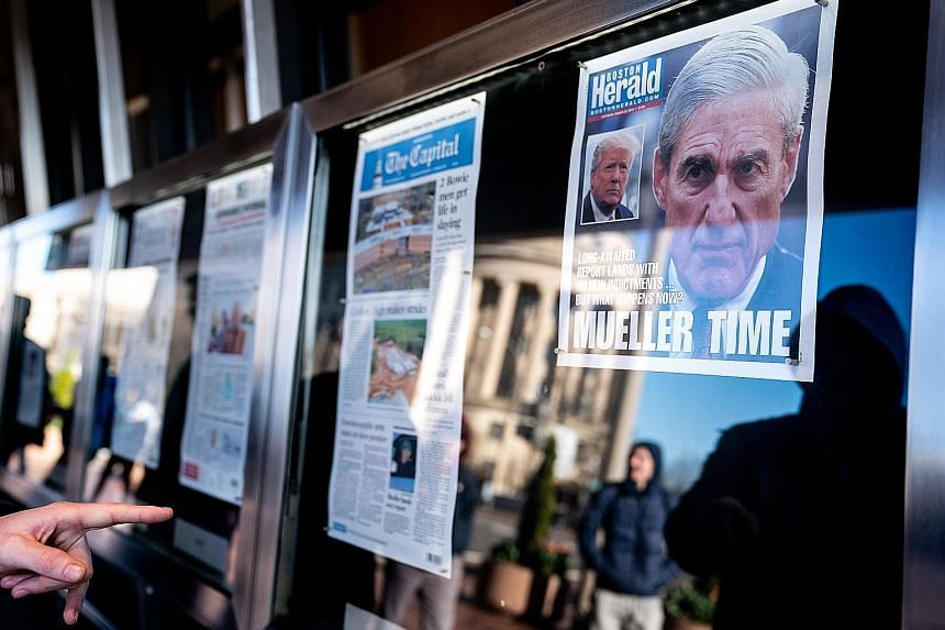 Front pages of US newspapers last Saturday announcing that special counsel Robert Mueller had finished his report on the inquiry into alleged Russian interference in the 2016 presidential election. The report found no collusion between Mr Donald Trum