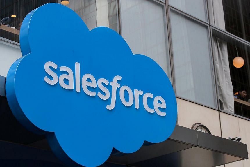 The company logo for Salesforce displayed on a building in New York City, on March 7, 2019.